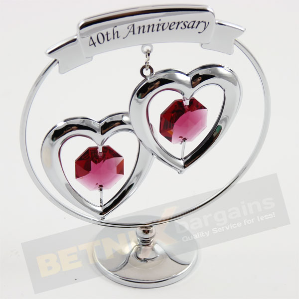 40th Wedding Anniversary Gift Ideas New Zealand : Details about 40th Ruby Wedding Anniversary Gift Swarovski Crystal